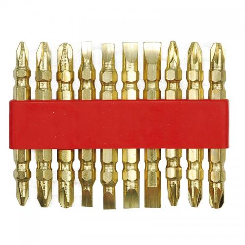Набор двусторонних бит в держателе - GOLD 10 шт.